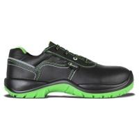 Pantofi de protectie Raw, cu bombeu compozit, piele pigmentata de bovina, negru + verde, S3 SRC, marimea 41