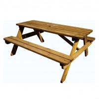 Set masa dreptunghiulara, cu 2 banci, pentru gradina, Fort Picnic, din lemn