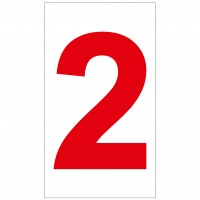 Indicator cifra 2 Sun Prints, autocolant, reflectorizant, rosu, forma dreptunghiulara, 16.5 x 9.4 cm