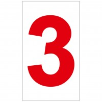 Indicator cifra 3 Sun Prints, autocolant, reflectorizant, rosu, forma dreptunghiulara, 16.5 x 9.4 cm