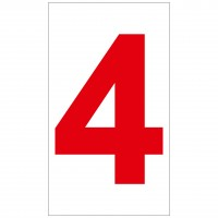 Indicator cifra 4 Sun Prints, autocolant, reflectorizant, rosu, forma dreptunghiulara, 16.5 x 9.4 cm