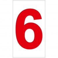 Indicator cifra 6 Sun Prints, autocolant, reflectorizant, rosu, forma dreptunghiulara, 16.5 x 9.4 cm
