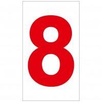 Indicator cifra 8 Sun Prints, autocolant, reflectorizant, rosu, forma dreptunghiulara, 16.5 x 9.4 cm