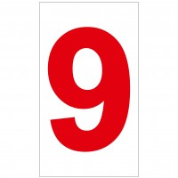 Indicator cifra 9 Sun Prints, autocolant, reflectorizant, rosu, forma dreptunghiulara, 16.5 x 9.4 cm