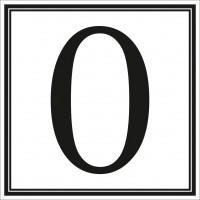 Indicator cifra 0 Sun Prints, autocolant, reflectorizant, negru, forma patrata, 10 x 10 cm