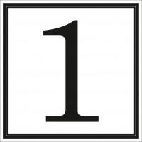 Indicator cifra 1 Sun Prints, autocolant, reflectorizant, negru, forma patrata, 10 x 10 cm
