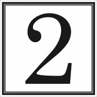 Indicator cifra 2 Sun Prints, autocolant, reflectorizant, negru, forma patrata, 10 x 10 cm