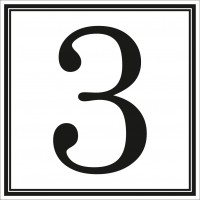 Indicator cifra 3 Sun Prints, autocolant, reflectorizant, negru, forma patrata, 10 x 10 cm