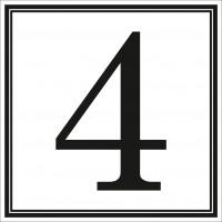 Indicator cifra 4 Sun Prints, autocolant, reflectorizant, negru, forma patrata, 10 x 10 cm
