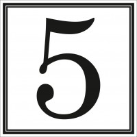 Indicator cifra 5 Sun Prints, autocolant, reflectorizant, negru, forma patrata, 10 x 10 cm