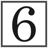 Indicator cifra 6 Sun Prints, autocolant, reflectorizant, negru, forma patrata, 10 x 10 cm