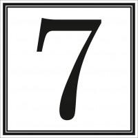Indicator cifra 7 Sun Prints, autocolant, reflectorizant, negru, forma patrata, 10 x 10 cm