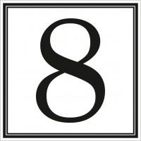 Indicator cifra 8 Sun Prints, autocolant, reflectorizant, negru, forma patrata, 10 x 10 cm