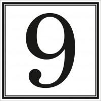 Indicator cifra 9 Sun Prints, autocolant, reflectorizant, negru, forma patrata, 10 x 10 cm