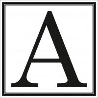 Indicator litera A Sun Prints, autocolant, reflectorizant, negru, forma patrata, 10 x 10 cm