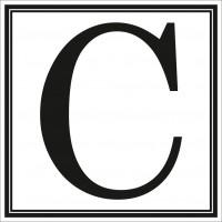 Indicator litera C Sun Prints, autocolant, reflectorizant, negru, forma patrata, 10 x 10 cm