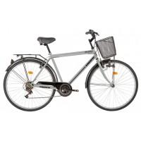 Bicicleta City, Kreativ K2813, 28 inch, frane V-brake, cu portbagaj, 6 viteze, gri