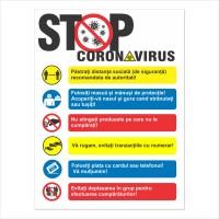 Indicator informare stop coronavirus M0145 Visual Stocksigns, pvc, forma dreptunghiulara, 30 x 40 cm