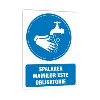 Indicator informare Spalarea mainilor obligatorie, PVC, 15 x 20 cm