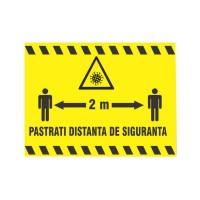 Indicator semnalizare pastrati distanta de siguranta 2 m Visual Stocksigns, pvc, forma dreptunghiulara, 20 x 30 cm