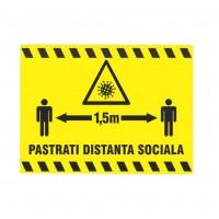 Indicator informare Pastrati distanta sociala 1.5 m, PVC, 20 x 30 cm