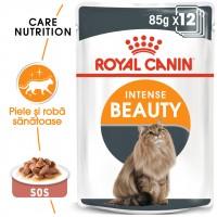 Hrana umeda pentru pisici, Royal Canin, Intense Beauty Gravy, adult, 12 x 85g