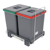 Cos gunoi pentru colectare selectiva, forma dreptunghiulara, gri, 2 x 18 L
