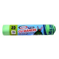 Saci menajeri / gunoi Misavan, cu manere, parfumati, verde, 35L, 15 buc