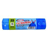 Saci menajeri / gunoi Misavan, cu manere, parfumati, albastru, 35L, 15 buc