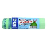 Saci menajeri / gunoi Misavan, cu manere, parfumati, verde, 60L, 10 buc