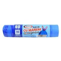 Saci menajeri / gunoi Misavan, cu manere, parfumati, albastru, 60L, 10 buc