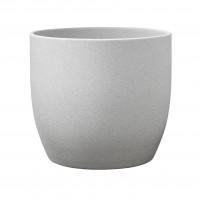 Ghiveci ceramic Stone, gri, rotund, 16 x 15 cm