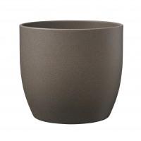 Ghiveci ceramic Stone, maro, rotund, 14 x 13 cm
