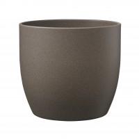 Ghiveci ceramic Stone, maro, rotund, 16 x 15 cm