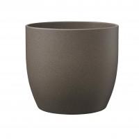 Ghiveci ceramic Stone, maro, rotund, 19 x 18 cm