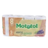 Hartie igienica Mototol, 3 straturi, alb, parfum lavanda, 8 role