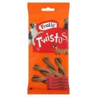 Hrana complementara pentru caini Frolic Twistos, adult, carne de vita, 6 buc, 105g