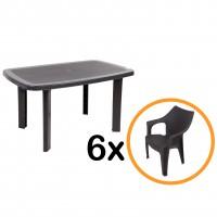 Set masa cu 6 scaune, pentru gradina, din plastic, maro