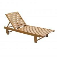 Sezlong plaja TDC 2363K, spatar pliabil, structura lemn, maro, 192 x 64.2 x 88 cm