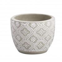 Ghiveci ceramic RT-7236-PA, gri, rotund, 24 x 18 cm