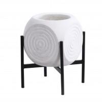 Ghiveci din ciment DHH042020, cu suport, alb, patrat, 30 x 32 cm