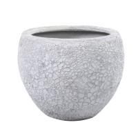 Ghiveci din polirasina + piatra FS190410443L, exterior, alb antichizat, rotund, 45 x 39 cm