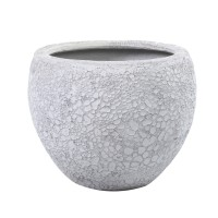 Ghiveci din polirasina + piatra FS190410443M, exterior, alb antichizat, rotund, 36 x 30.5 cm
