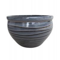Ghiveci ceramic KP202011-3, negru, rotund, 38 x 25.5 cm