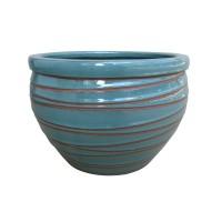 Ghiveci ceramic KP202011-3, albastru, rotund, 22.5 x 15.5 cm