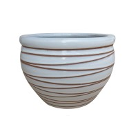 Ghiveci ceramic KP202011-3, alb, rotund, 22.5 x 15.5 cm