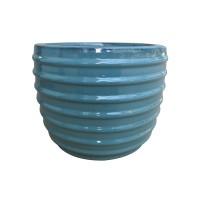 Ghiveci ceramic KP202012-3, albastru, rotund, 28 x 23 cm