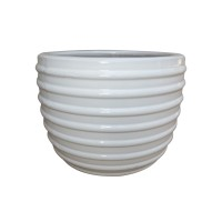Ghiveci ceramic KP202012-3, alb, rotund, 37 x 31 cm