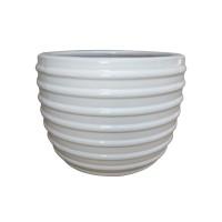 Ghiveci ceramic KP202012-3, alb, rotund, 28 x 23 cm