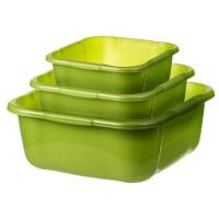 Lighean universal patrat Crilelmar, plastic, verde, set 3 buc, 4 L / 7 L / 10 L